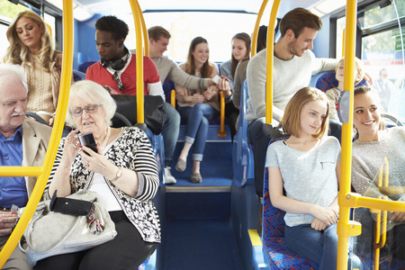 persons: Interior Of Bus With Passengers