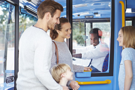 6 12: Family Boarding Bus And Buying Ticket