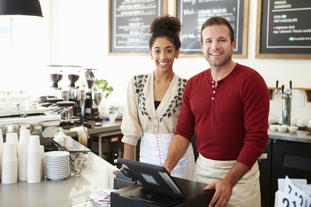 business: Man ägare av Coffee Shop