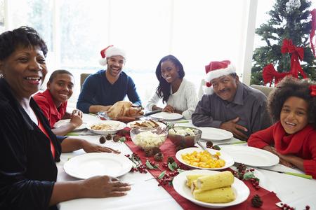 comida de navidad: Multi generacional disfruta de la comida de Navidad en casa