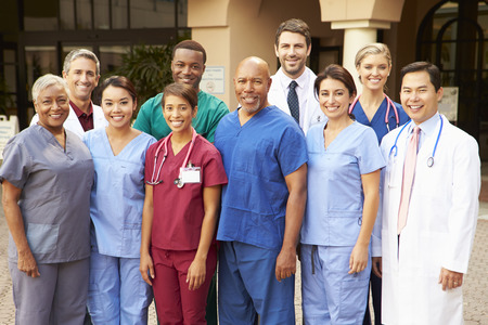 hispanic people: Outdoor Portrait Of Medical Team Stock Photo