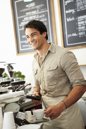 coffee shop: Male Owner Of Coffee Shop