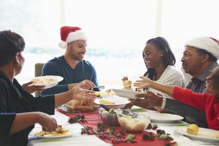 Multi generacional disfruta de la comida de Navidad en casa
