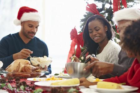 Multi Generation Familie die van Kerstmis maaltijd thuis Stockfoto - 31021446
