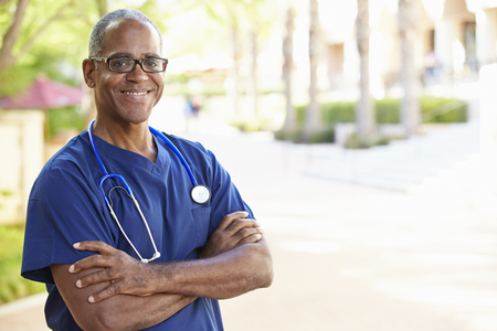 african american male: Outdoor Portrait Male Nurse