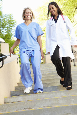 Medical Staff Having Discussion Outdoors photo
