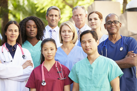 male nurse: Outdoor Portrait Of Medical Team Stock Photo