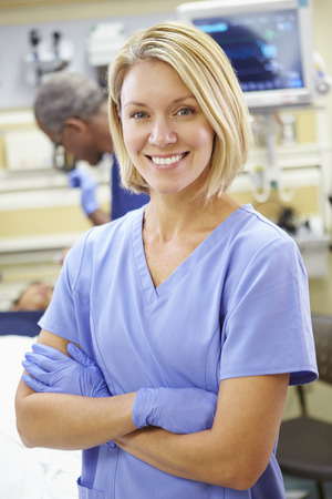 emergency room: Portrait Of Nurse Working In Emergency Room Stock Photo