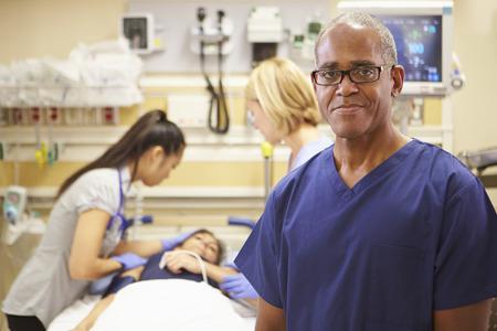 emergency room: Portrait Of Male Nurse Working In Emergency Room Stock Photo