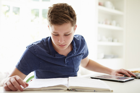 happy teenagers: Teenage Boy Studying Using Digital Tablet At Home