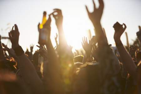 Crowds Enjoying Themselves At Outdoor Music Festival Stock Photo
