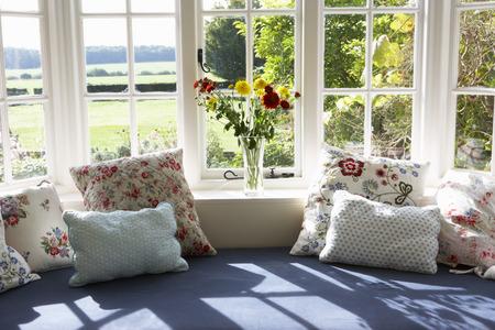 Window Seat In Modern House Foto de archivo