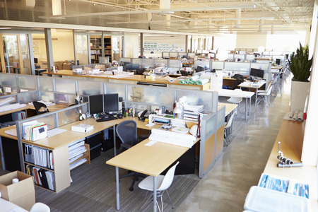 architect office: Empty Modern Open Plan Office Stock Photo