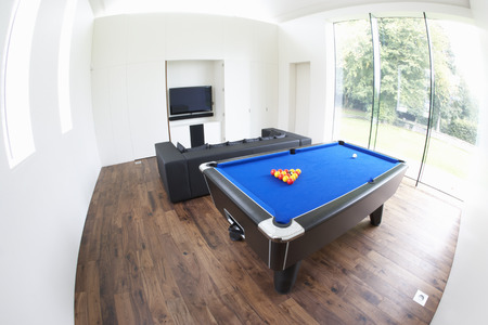 pool table: Interior Of Games Room In Modern House