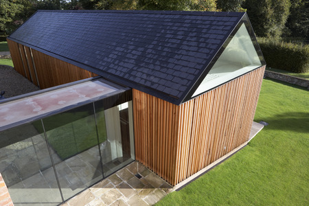 Exterior Of Modern House With Extension Standard-Bild