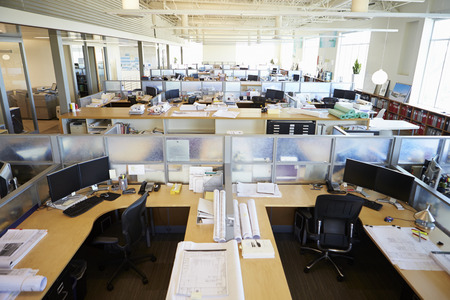Empty Modern Open Plan Office Stock Photo