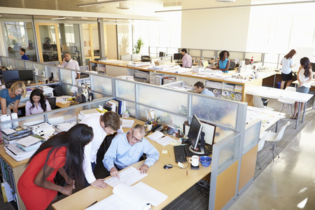 people at work: Interior Of Busy Modern Open Plan Office Stock Photo