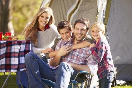 camping: Family Enjoying Camping Holiday In Countryside Stock Photo