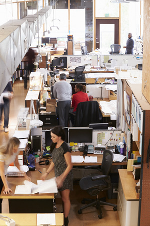 open plan: Interior Of Busy Architects Office With Staff Working