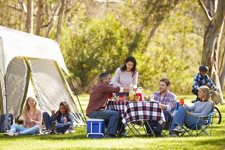families together: Dos familias que disfrutan de vacaciones en camping en Campo