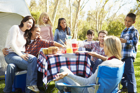 Two Families Enjoying Camping Holiday In Countryside photo