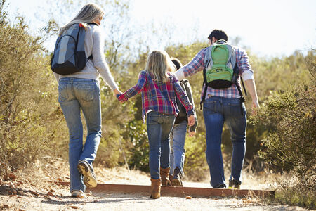 10 years old: Rear View Of Family Hiking In Countryside Wearing Backpacks Stock Photo
