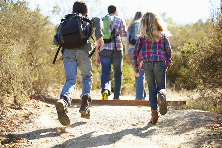 Rear View Of Family Hiking In Countryside Wearing Backpacks photo