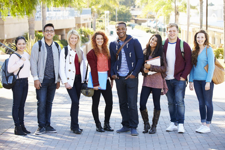 Portrait Of University Students Outdoors On Campus Zdjęcie Seryjne