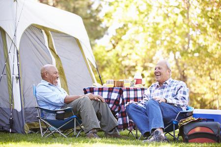 Two Senior Men Relaxing On Camping Holiday 版權商用圖片