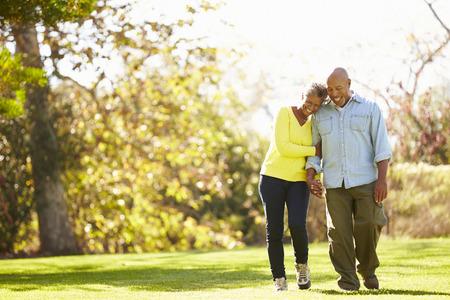 ancianos felices: Pares mayores que recorren a trav�s del arbolado del oto�o