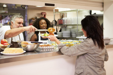 poverty relief: Kitchen Serving Food In Homeless Shelter