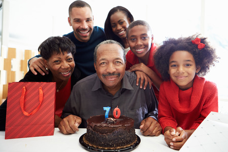 Family Celebrating 70th Birthday Together photo