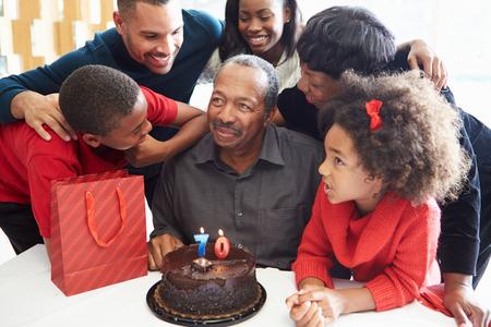 Family Celebrating 70th Birthday Together Standard-Bild