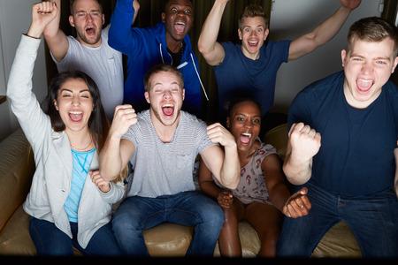 personas mirando: Grupo de amigos que miran la televisión en el país junto