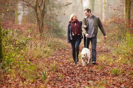 겨울 숲을 통해 개를 산책하는 커플