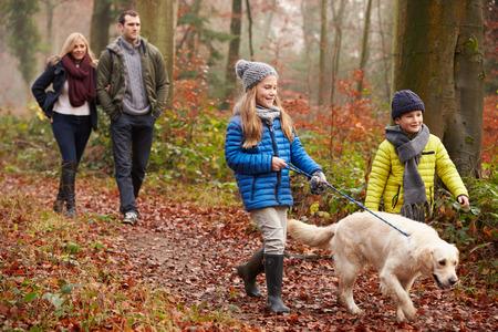 겨울 숲을 통해 강아지를 산책 가족