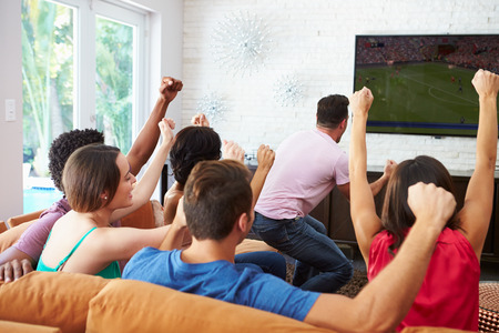 Group Of Friends Watching Soccer Celebrating Goal photo