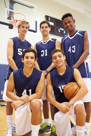 high school basketball: Members Of Male High School Basketball Team Stock Photo