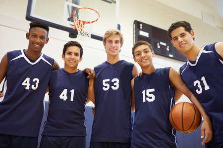 basketball team: Members Of Male High School Basketball Team Stock Photo