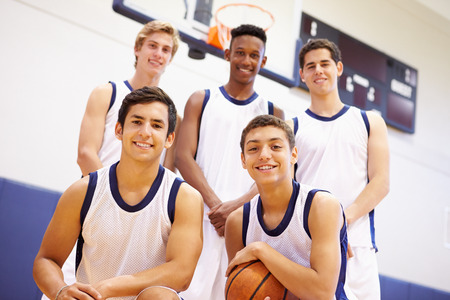 high school basketball: Members Of Male High School Basketball Team Stock Photo