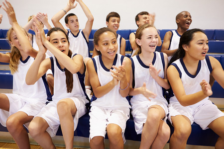 high school basketball: Spectators Watching High School Basketball Team Match
