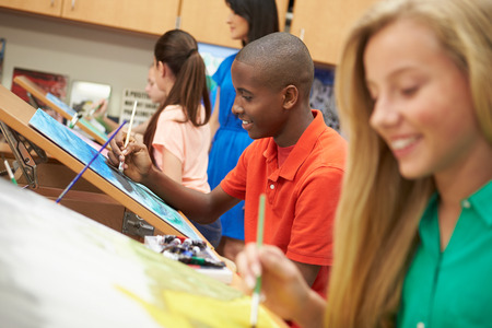 lesson: Male Pupil In High School Art Class Stock Photo