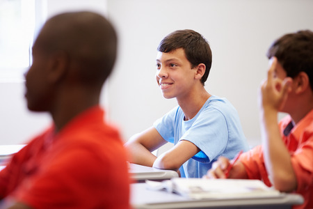 12 13 years: Male High School Pupil In Class Stock Photo
