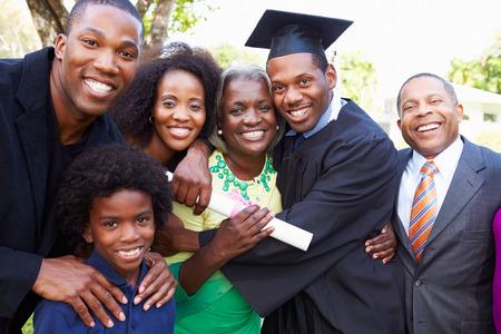 African American Student Celebrates Graduation Foto de archivo
