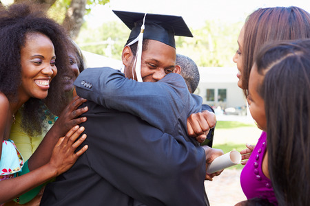 African American Student Celebrates Graduation Archivio Fotografico