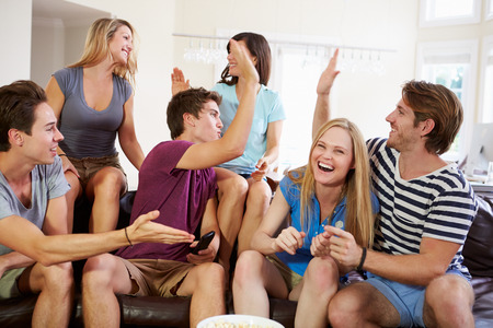 Friends Watching Sport Celebrating Goal photo