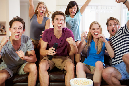 Friends Watching Sport Celebrating Goal
