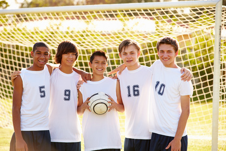 Members Of Male High School Soccer Team photo