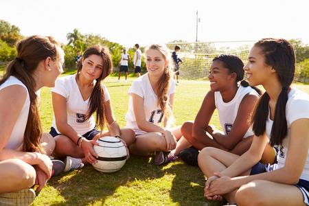 soccer uniforms: Members Of Female High School Soccer Team Stock Photo