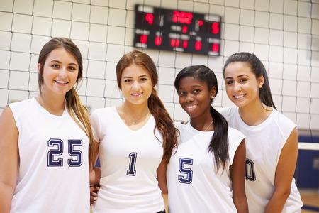 school sports: Members Of Female High School Sports Team